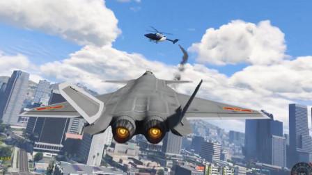 GTA5:麦克驾驶歼20战斗机在城市道路起飞精彩瞬间