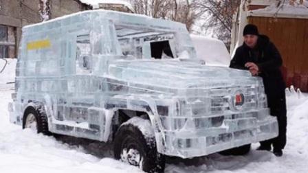 老外用6吨冰块打造奔驰大G,一脚油门踩下去,简直太炫酷!