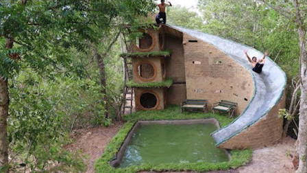牛人在荒野打造3层滑梯泳池,滑下去的那一刻,太巴适了!