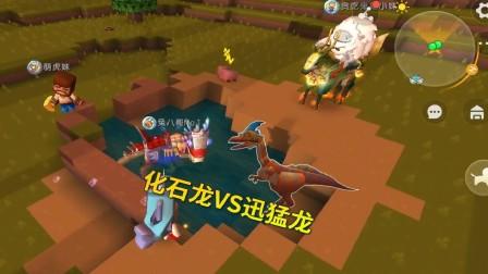 迷你世界极限联机278:双龙之战,迅猛龙不堪一击,败给化石龙