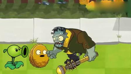 植物大战僵尸:豌豆抛下太阳花跑了
