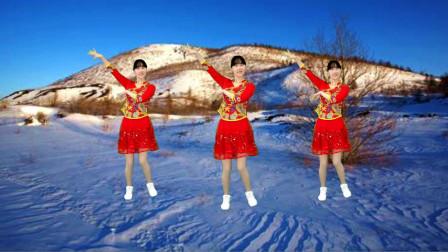 阳光香果广场舞《又见雪花飞》节奏欢快  简单易学特好看!