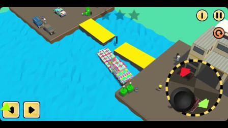 挖掘机工程车游戏 皮卡车飞跃桥梁