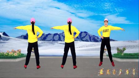 点击观看《蓝天云广场舞 健身操《百花香》正反面演示》