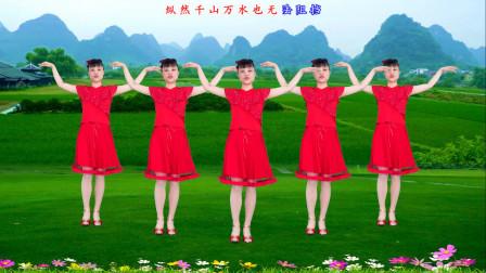 华美舞动广场舞《心在路上》 流行中三步动作教学