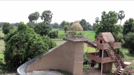 荒野兄弟牛人户外建造三层别墅并打造最高的水滑梯游泳池