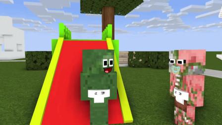 我的世界动画-怪物幼儿园 vs 冰淇淋宝宝-AppleSauceCraft