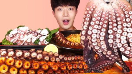 小哥吃一整只巨型章鱼足,各种烹饪方法,肉质Q弹筋道简直爽翻了
