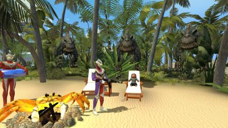迪迦和泰罗奥特曼在沙滩上遇见恐龙,怎么办啊?