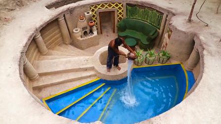 """高手在民间!荒野牛人打造""""地下豪宅"""",自带一座豪华泳池!"""