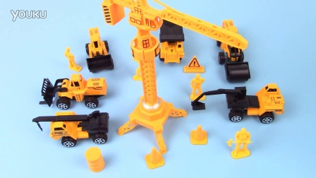 挖掘机起重机叉车工作儿童动画玩具视频