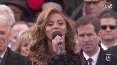 2013年�W巴�R就�典�YBeyonce演唱美����歌The Star-Spangled Banner