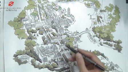 郑州绘聚中国手绘培训——李国胜旅游开发项目鸟瞰图表现