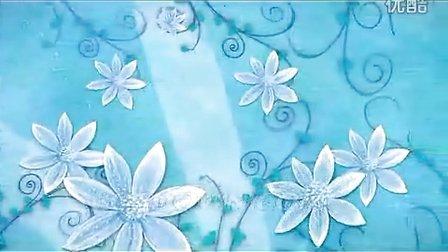 青色的粉笔油画花瓣背景视频素材,影视素材-西橘网