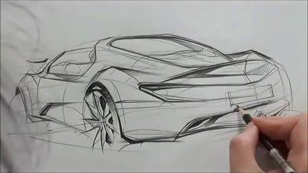 汽车手绘马克笔快速表现教学视频26