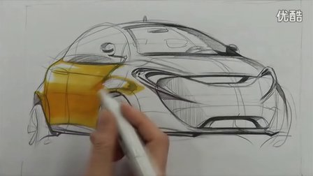 工业设计汽车手绘马克笔快速表现教学视频16