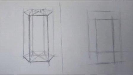素描入门第4课,六棱柱的画法
