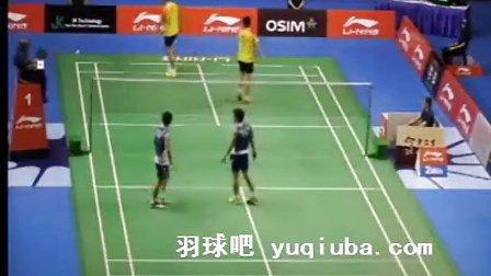 2013新加坡羽毛球公开赛 高成炫李龙大男双比赛视频-羽球吧