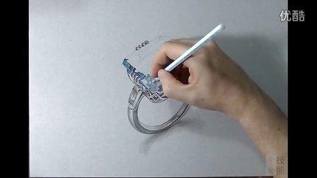 蓝宝石戒指马克笔手绘视频教程 珠宝首饰系列作品