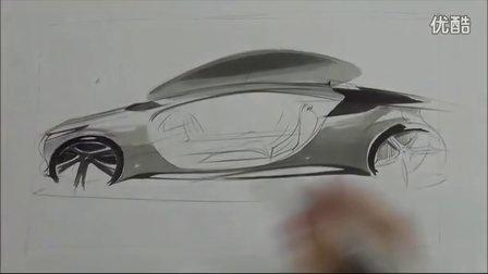 工业设计汽车手绘马克笔快速表现教学视频9