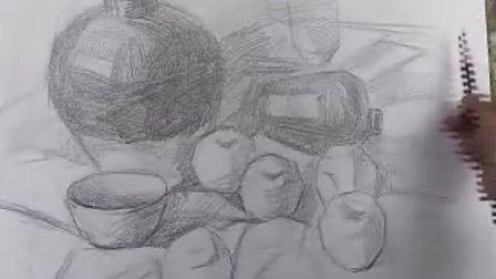 素描静物罐子 苹果 教学
