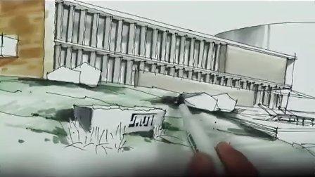 酒店建筑外观 马克笔上色(2)-广州疯狂手绘培训视频教程