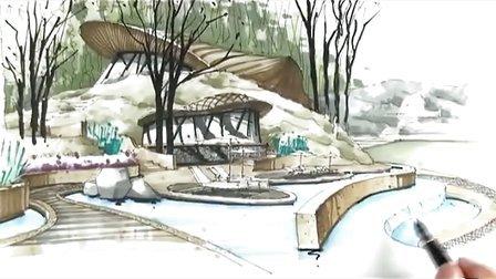 广州疯狂手绘教程视频-度假酒店景观5