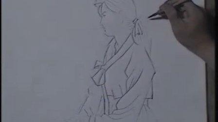 工笔人物画教学写生起稿白描上色vcd1