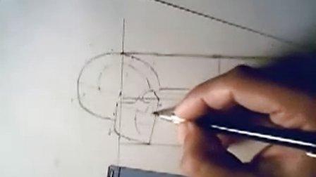 人体结构绘画014 头骨侧面简略画法1
