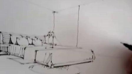 一行手绘教程 两点透视卧室