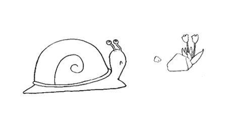 儿童剪纸蜗牛步骤图解