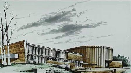酒店建筑外观 马克笔上色(5)-广州疯狂手绘培训视频