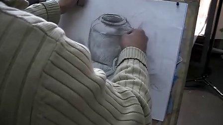 静物素描——罐子水杯和水果(上)