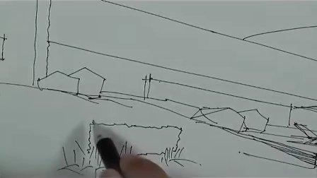 酒店建筑外观(线稿)-广州疯狂手绘培训视频教程
