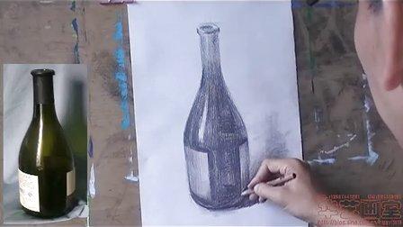 华艺素描静物酒瓶画法