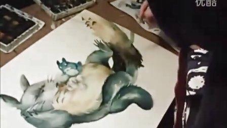 """[动漫] 水彩画 """"龙猫"""" 创作全过程"""