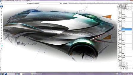 汽车设计photoshop手绘上色视频教程