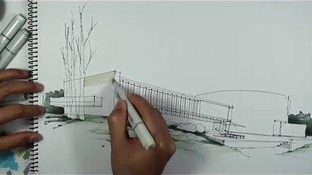 酒店建筑外观 马克笔上色(1)-广州疯狂手绘培训视频