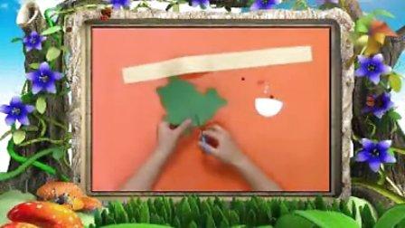 幼儿园手工制作《巧手纸塑之青蛙头饰》手工视频