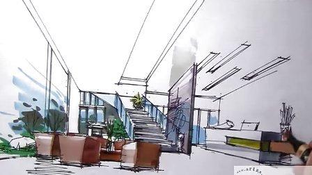 福建手绘--室内客厅马克笔上色.mp4视频