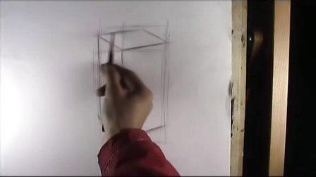 素描几何形体第二讲2:长方体的起稿