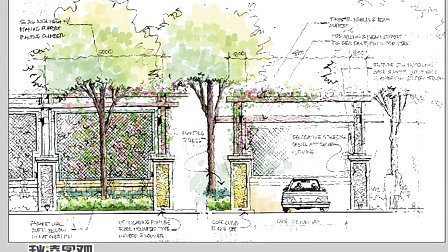 手绘园林景观手绘建筑手绘电脑ps手绘技巧3