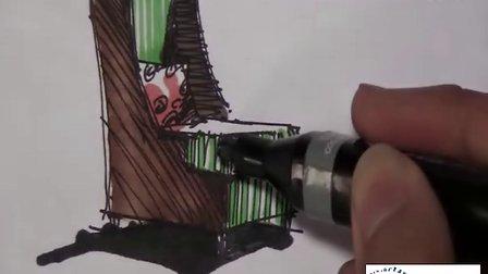 马克笔单体餐桌手绘图