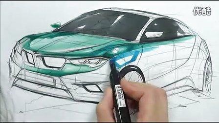 宝马汽车马克笔上色手绘视频教程 高清