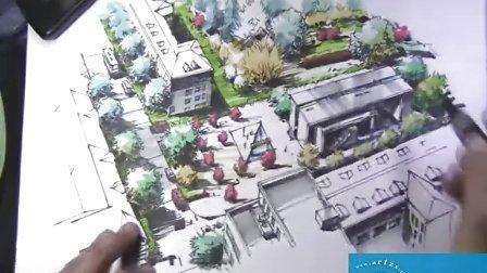 考研快题设计--几何建筑鸟瞰效果图教程视频