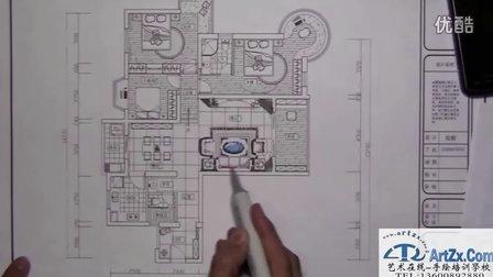 江南大学快题设计--豪宅室内平面图马克笔表现1视频