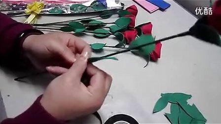 手工花艺视频教程diy彩塑棉玫瑰花制作步骤视频3