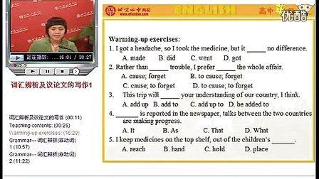 词汇辨析及议论文的写作(上) 北京四中高考一轮复习(英语)