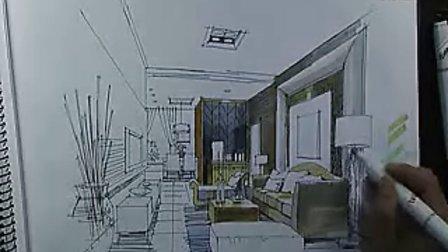 庐山手绘艺术特训营——陈红卫客厅空间马克笔表现