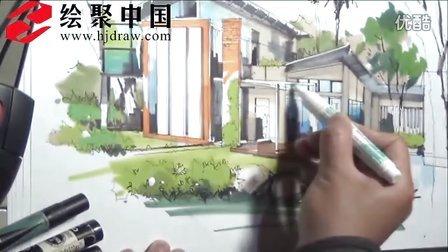 郑州手绘培训—绘聚中国高校巡回讲座徐志伟现场表现建筑外观马克笔